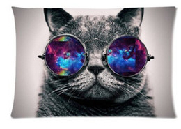 Wholesale Hotel Galaxy - Galaxy Hipster Cat Theme Funny Cat Wear Color Sunglasses Soft Custom Rectangle Pillowcase Pillow Case Covers 20X30