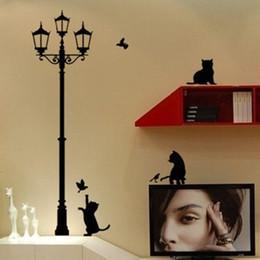 arte de la pared pegatinas gatos Rebajas 1 UNID Nuevo Diseño! CatLamp Pegatinas de Pared Calcomanías de Arte Hermosa Casa Decorar Envío Gratis FZ2052