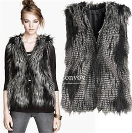 Wholesale Ladies Faux Fur Long Vest - Womens Faux Fur Vest Peacock Feather Color Ladies V-neck sleeveless jacket Waistcoat Long Hair Soft Top Jacket Vest Free Shipping WT62