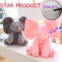 Wholesale Electric Baby Dolls - Peek A Boo Elephant Stuffed Animals & Plush Elephant Doll ,Play Music Elephant Educational Anti -Stress Electric Toy For Baby