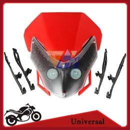Wholesale Headlight Motorcycle Universal Street Fighter - Universal Motorcycle LED headlight Fairing Dual Sport Dirt Bike Street Fighter Light Lamp for Honda Yamaha Suzuki Kawasaki Red order<$18no t