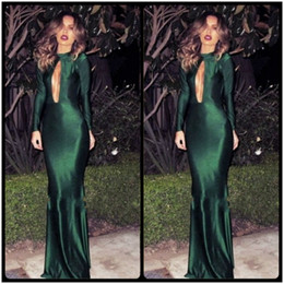 Wholesale Long Fashionable Party Dresses - Fashionable Dark Green Long Sleeve Evening Dresses 2016 Sexy Plunging Necklines Mermaid Prom Party Dress vestidos de festa Formal Gown