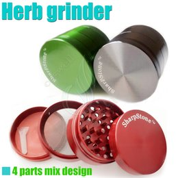 Wholesale Grinder Kit - Top Full metal herb grinder SharpStone 4 parts 50mm herbal cnc teeth filter net dry herb vaporizer pen vaporizers vapor e cigarette kit DHL