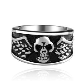 Wholesale Skull Wings Rings - DEATH Ring Wings Skull Stainless Steel Rings Vintage Silver Color Retention Mens Fashion Jewelry Good Quality S026