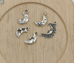Wholesale Tibetan Silver Moon Charms - Hot sell ! Tibetan Silver Mixed Various Moon Charm Pendant Jewelry DIY 5 - style (351)