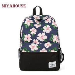 Wholesale Bookbags Women - Fashion Backpack Women School Bags For Teenage Girls Cute Bookbags Floral Backpacks Canvas Female Casual Travel Bag