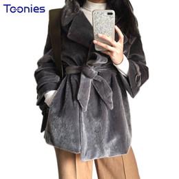 Wholesale Knit Mink Fur Coat - wholesale Elegant Winter Faux Mink Coats Women Imitation Pockets Belt Faux Fur Knitted Jacket Thick Warm Overcoat Outwear Top Long Sleeve