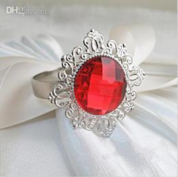 Wholesale Diamond Napkin Holders - Hot 100pc Red Diamond Gem Napkin Rings Serviette Holder Wedding Banquet Dinner Table Decoration Favor Supplies