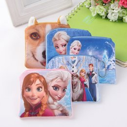 Wholesale Keys Printed - 3D print frozen Anna&Elsa Cat Coin Purse Kids Wallet And Handbag Cute Key Holder Fashion Dog Zero Wallets CAT Coins Bags Animal Pouch