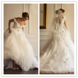 Wholesale Best Sell Wedding Dresses - Best Selling Gorgeous Wedding Dresses Off Shoulder Backless Flowers Embroidery Cheap Sheer Tulle Ball Gown Sweep Train Bridal Dress