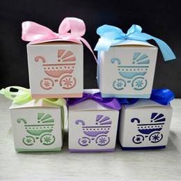 Wholesale Pink Baby Shower Favor Box - 200pcs lot Square Baby Shower Party Favour Gift Chocolate Candy Boxes In Laser Cut Baby Carriage Design Colors For Baby Girl And Boy