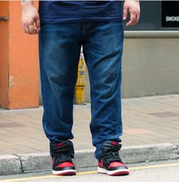 Wholesale Denim Fat Pants - Casual Men Jeans Plus Size Fat Loose Long Pants Black Denim Blue Jean Straight Trousers Clothing for Men