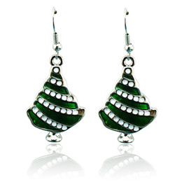 Wholesale Earring Paint - 2015 Christmas Charms Earrings Fashion Silver Plated Dangle Painting Christams Tree Statement Earrings For Women Jewelry