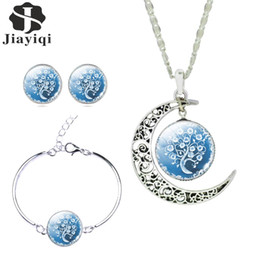 Wholesale Olive Tree Necklace - Women Fine Romantic Sterling Silver Jewelry Sets White Blue Tree Picture Glass Moon Pendant Necklace Stud Earrings Bracelet Set