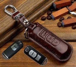 accesorio para mazda cx5. Rebajas Cubierta de clave de cuero para Mazda 3 5 6 cx-5 CX-7 CX-9 CX5 ATENZA Axela titular de la llave del coche remoto carteras llavero anillos accesorios