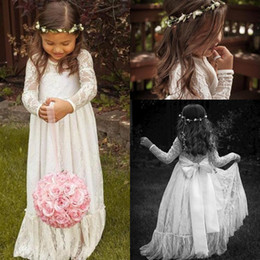 Wholesale Infant Christmas Dresses Cheap - 2017 Cheap Long Sleeves Lace Wedding Flower Girls' Dresses First Communion Bohemian Style Kids' Gowns Jewel Neck Infant Chritmas Dresses