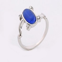 Wholesale Opal Silver Set - The Vampire Diaries Elena ring cosplay party jewelry Wholesale Elena daylight rings Movie Statement sterling silver Rings women Opal Crystal