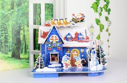 Wholesale Cabin Decorations - Small Cottage DIY Handcrafted Jigsaw Christmas Cartoon House Model Furnishing Articles Cabin Christmas Decorations Kids Gift