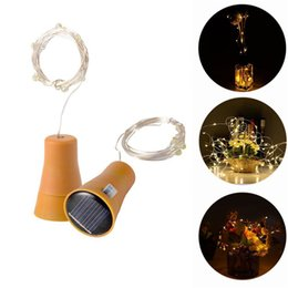 2019 le luci della stringa della novità esterna 1M 10 LED Solare Tappo per bottiglia di vino Filo di rame filo striscia Decorazione esterna del partito Novità Lampada da notte DIY Luci stringa di sughero sconti le luci della stringa della novità esterna