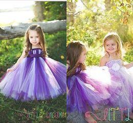 Wholesale Halter Style Wedding Ball Gowns - 2015 Wedding Dresses Halter Floor-Length Cool Style purple Flower Girls' Dresses The Princess Dresses Handmade Ball Gown