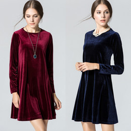 Wholesale American Advance - 2017 autumn new European and American trade Loose A word round neck long sleeve dress Advanced gold velvet dress skirt
