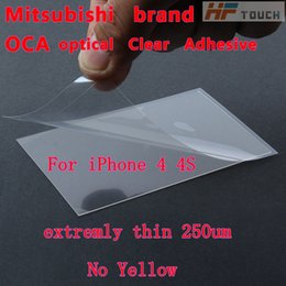 Wholesale Optical Adhesive Tape - 200pcs lot for mitsubishi 250um optical clear adhesive oca glass lcd tape repair for iphone 4 4s 4g free shipping
