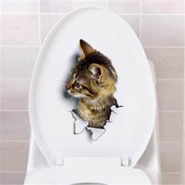 Wholesale Wall Stickers For Toilets - New Creative Hole View 3D Cats Wall Sticker Bathroom Living Room Home Decor for Animal Vinyl Decals Art Poster cute Toilet Stickers