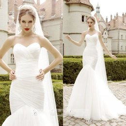 Wholesale Shirred Gown - Elegant Wedding Dresses Mermaid Sweetheart Open Back Sleeveless Shirred Floor Length 2015 Wedding Gowns Bridal Dress Plus Size High Quality