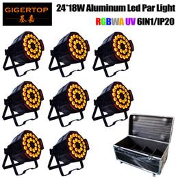 Wholesale Dj Wall - 8IN1 Flight Case Pack Led Par 24 18W RGBWAP 6IN1 Dmx Stage Lighting PAR64 DMX PAR Can Party DJ Disco Lighting Wall Wash CE ROHS 110V-220V