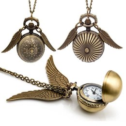 Wholesale Necklaces Watches - Harry Golden Snitch Pocket Watch Antique Bronze Wing Ball Pendant Necklace Chains Potter Fashion Jewelry Fans Gift Drop Shipping