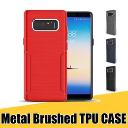 Wholesale Button Textures - for Samsung Note8 Protective Case Stylish Brush Texture TPU with Metal Button Cellphone Covers for Galaxy S8 Plus J2 Prime A5 A7 2017