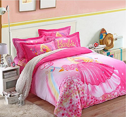 Wholesale Twin Pink Princess Bedding Duvet - Wholesale- Cute Cartoon Barbie Kids Bedding Set,Delicate Pink Fairy Girls Duvet Cover,Designer Girls Princess Bedding Sets