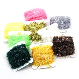 Wholesale Wholesale Fly Tying Materials - SAMSFX 9Cards 90 Meters Ice Chenille Fly Tying Materials Flash Chenille Line Specific 9 Colors