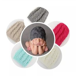 Wholesale Cotton Crochet Baby Bonnets Boys - Newborn Knit Beanie Hats Baby Boy Girls Wool Crochet Caps Toddler Kid Cotton Wraps Infant Unisex Hair Accessories Photography Bonnet