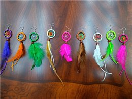Wholesale Earrings Dangle Mixed - Feather Earring of Dream Catcher Earrings Whosale Mixed colors free shipping