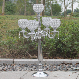 Wholesale Tea Light Candles Metal - 80cm height 5-arms crystal candelabras shiny silver finish wedding candle holder wedding centerpiece party event decoration