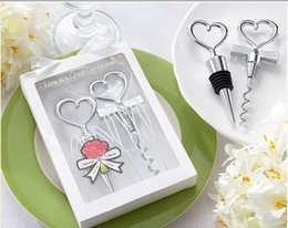 Wholesale Groom Bride Stoppers - Wedding favours and gifts for guest of Couple bride and groom wine bottle corkscrew and Stopper Set 120sets LOT