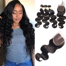 Wholesale good quality hair extensions - Brazilian Body Wave With Closure 3bundles lot Brazilian Human Hair Bundles Lace Closure Good Quality Body Wave VUSIONHAIR Extensions