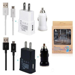 Wholesale Micro Usb Au Plug - AAA+ Quality 3 in 1 Charger Set US EU Plug + Bullet Car Charger + Micro Usb Cable with Retail Box for Samsung Galaxy