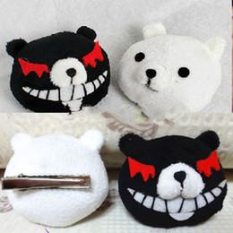 Wholesale dangan ronpa cosplay - Wholesale-Hitwise cheaper 1Pair New Dangan-Ronpa Junko Enoshima Cosplay Black and White Bears Hair Clip Most popular