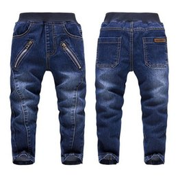 Wholesale Kids Clothes High Quality Boys - High Quality Baby Boys Jeans Autumn Children's Washed Zipper Blue Cotton Denim Pants Kids Cowboy Trousers Clothing