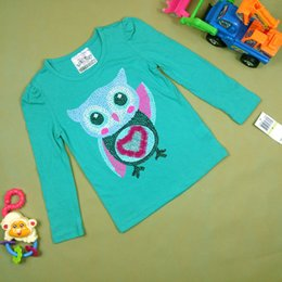 Wholesale Long Sleeve Owl Shirt - Summer fashion kids long sleeve T shirt top lovely girl boy owl pattern T-shirt 100% cotton Tees t-shirt