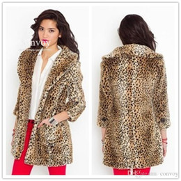 Wholesale Sexy Fur Coats - Europe Fashion Womens Sexy Body Slim Leopard Faux Fur Lape-neck Winter Coat Thick Fur Warm Outerwear Free Shipping WT199