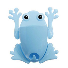 Wholesale Cartoon Toothpaste Sale - Hot Sale Blue Cartoon Toothbrush Holder Frog Toothbrush Toothpaste Holder Suction Cup Wall Mount Stuff Organizer Free Shipping