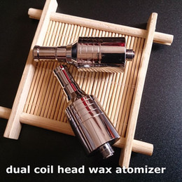 Wholesale Vaporizer E Cig Atomizer Head - 20pcs DHL free D-CORE double coils wax atomizer Ceramic Cotton rob wax vaporizer dual heating coils head wax v9 tank 510 e cig
