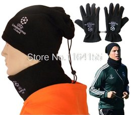 Wholesale Warm Scarves - Wholesale-Hat Scarf and Gloves Set for women men winter Outdoor windproof warm carf sets football Hat scarf gloves YT01