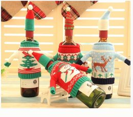 Wholesale Knitted Bottle Cover - Christmas Wine Bottle Bag Dinner Party Decoration Creative Knit Red Wine Bottle Cover Christmas Decoration Xmas Gift