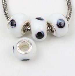 Wholesale Evil Eye Charm Glass - 60pcs lot 14mm Evil Eye Murano Lampwork 5mm Big Hole Glass Beads Fit Charm Bracelet Jewelry DIY