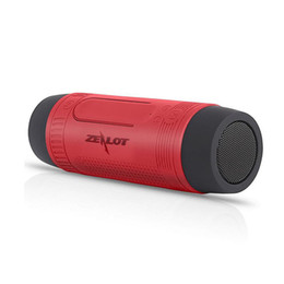 Wholesale Iphone Audio Power - Zealot S1 CSR4.0 Bluetooth Speaker HD Stereo LED Flashlight Power Bank Microphone For Samsung iPhone PC DHL Free MIS116