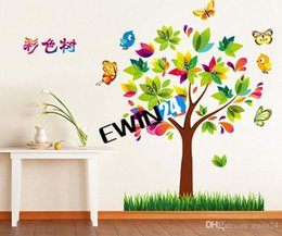 Wholesale Grass Wall Decals - New Butterfly Colorful Tree Green Grass Birds Wall Stickers Wall Border Self Adhesive Mural Paper Decal 150sets